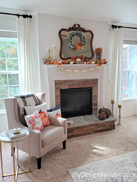 Fall mantel, pumpkins, Fall Fireplace, Thankful