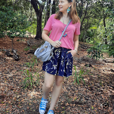 awayfromtheblue Instagram | pink v-neck tee with navy lemon print kmart culotte shorts chloe paraty bag