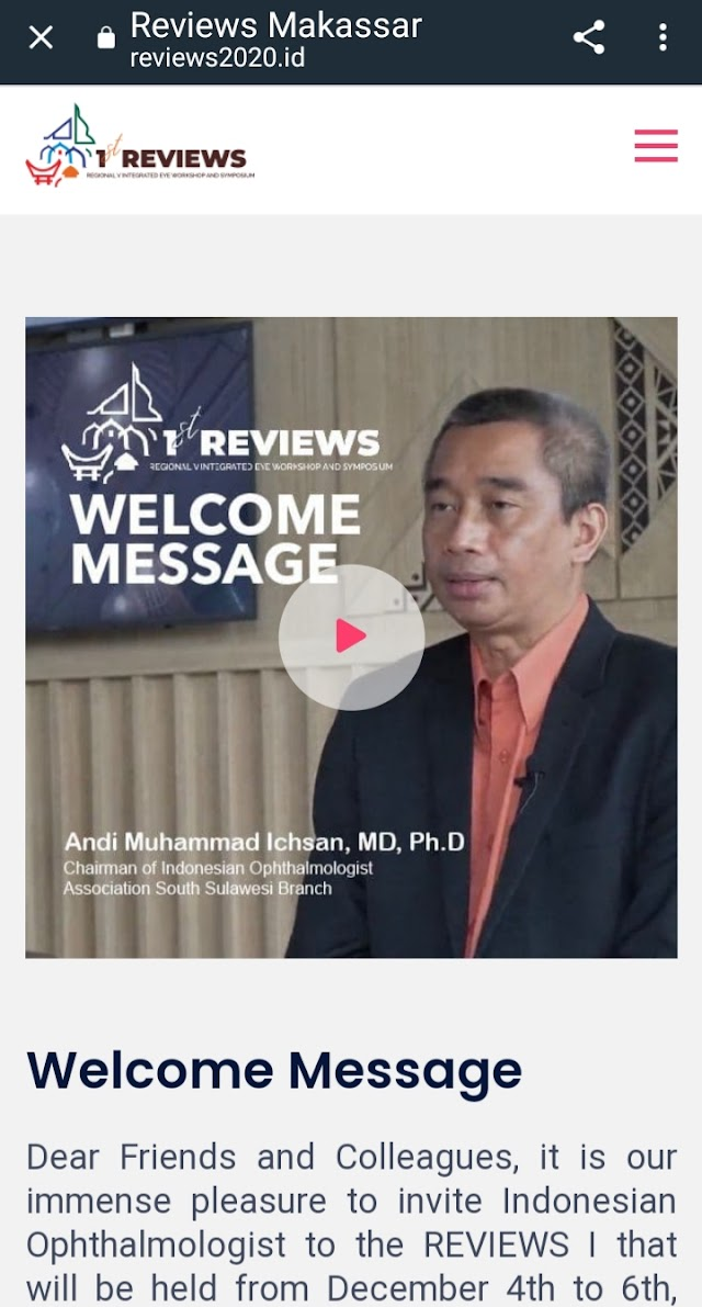 1st REVIEWS 2020 (Regional V Integrated Eye Workshop And Symposium)  dengan tema Beyond 2020; What to Expect