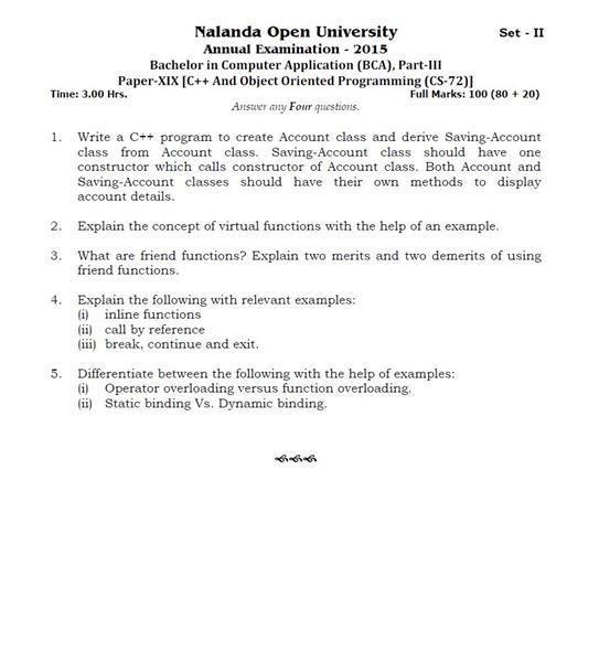 Nalanda Open University BCA CS72 C++ And Object Oriented