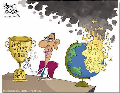 Lustiger Friedensnobelpreis für Barack Obama Karikatur