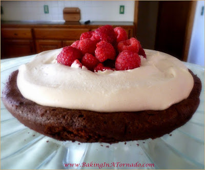 Flourless Chocolate Cake with Mocha Frosting: A thick, dense cake made with dark chocolate, topped with a light mocha frosting and fresh berries | Recipe developed by www.BakingInATornado.com | #recipe #cake #chocolate