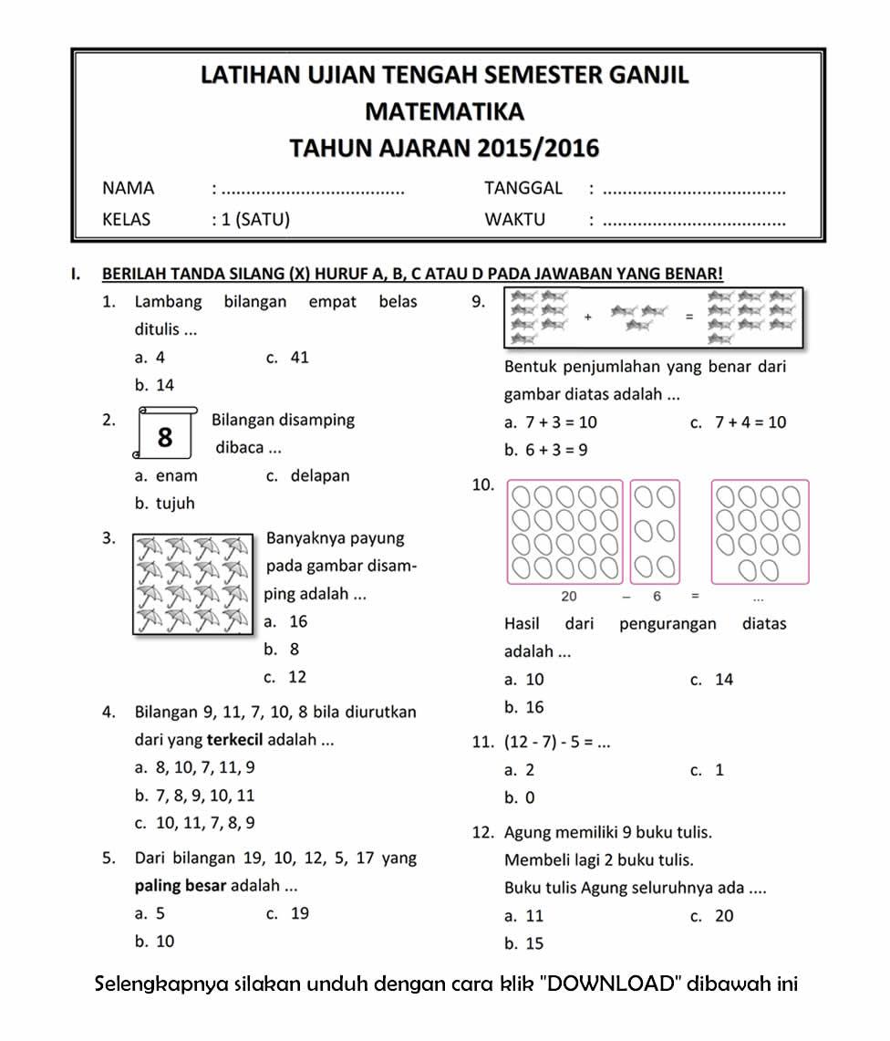 soal dissertation matematika kelas 3 sd session 1