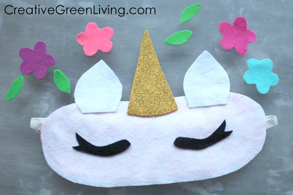 How to make a unicorn sleep mask with free printable unicorn horn and flower pattern