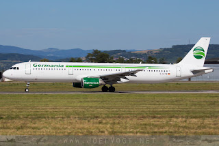 Airbus A321 of Germania at Basel-Mulhouse Euroairport