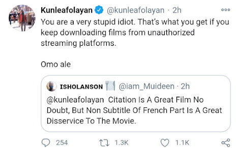 """""""Omo Ale You Are Very Stupid"""" Kunle Afolayan Blast A Fan Who Asked Why His Latest Movie 'Doesn't Have Subtitle'"""