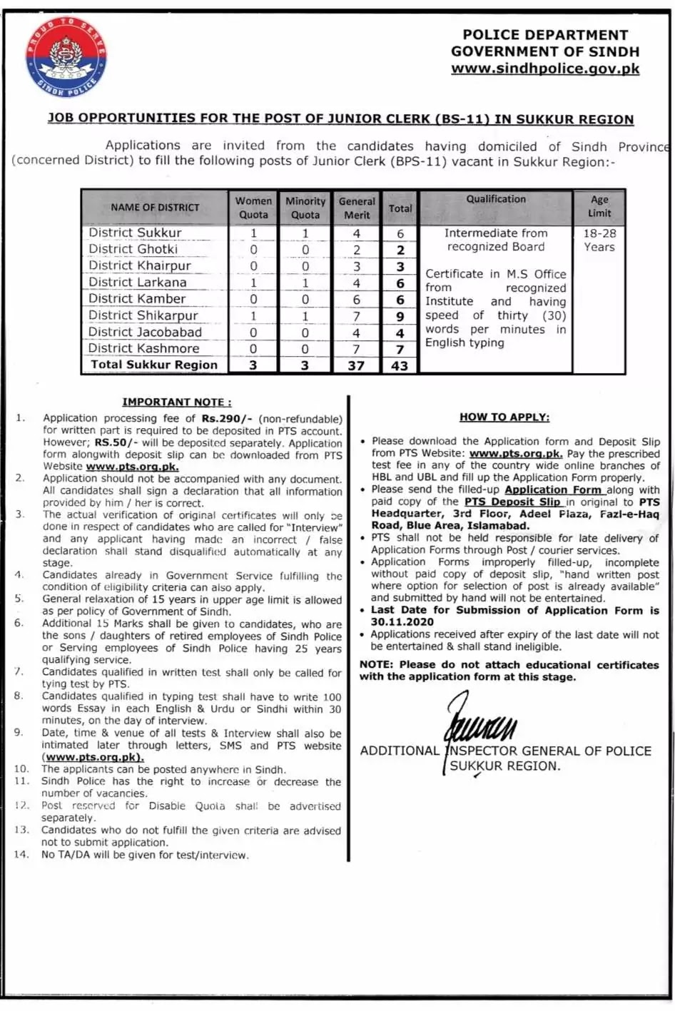 SINDH POLICE SUKKUR REGION JUNIOR CLERKS (BS-11) JOBS 2020 VIA PTS 43 POSITIONS