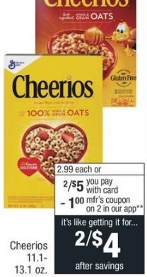 Honey Nut Cheerios $1.50 at CVS - 7/14-7/20