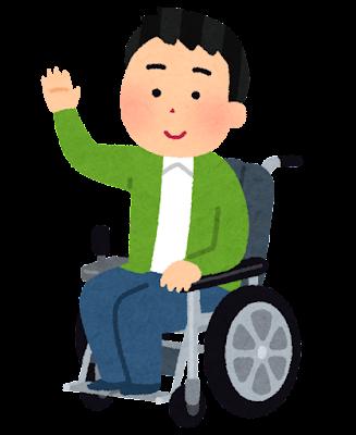 電動車いすに乗る人のイラスト(男性)