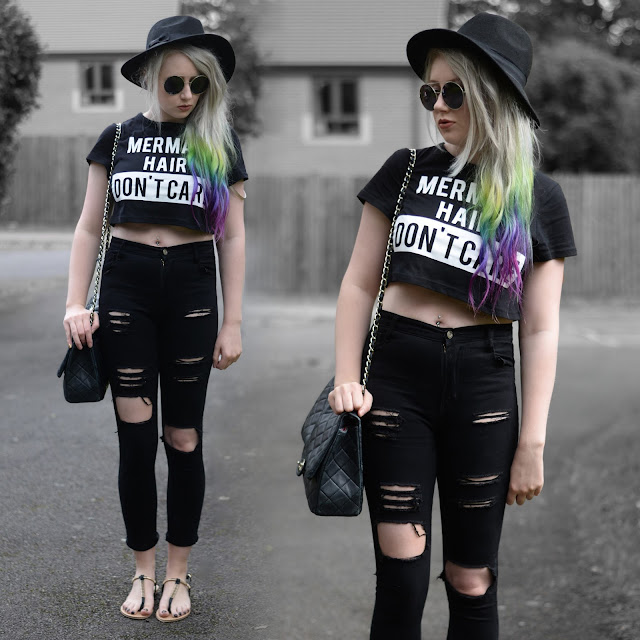 Sammi Jackson - Choies 'Mermaid Hair Don't Care' Cropped Tee