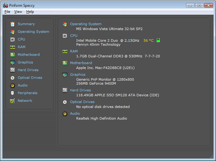 Speccy Main Interface Screenshot