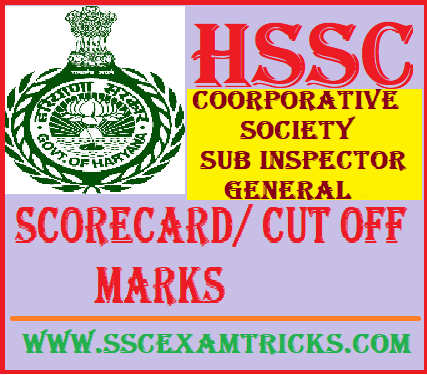 HSSC Cooperative Society SI Answer Key scorecard