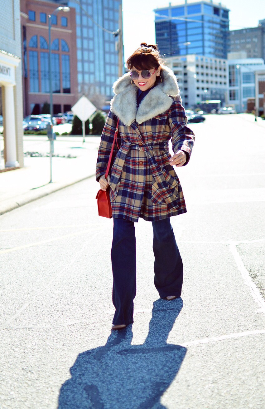 Plaid coat street style