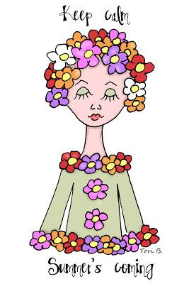 Free Crudoodle Digital Stamp, Fleur, Summer Color by Tori Beveridge