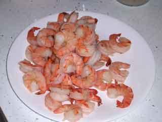 Poached shrimp