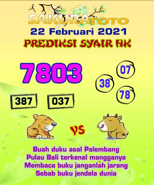 Syair HK Senin 22 Februari 2021 -