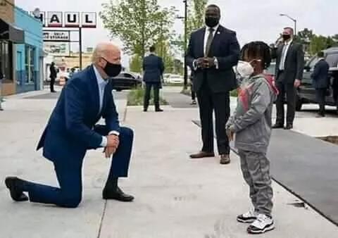 Joe Biden Kneels; Apologises To Floyd's Daughter In Public; Dino Melaye Asks, 'Can Buhari Do This?' (Photo)