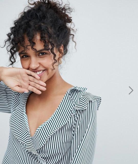 monk stripe ruffle wrap blouse