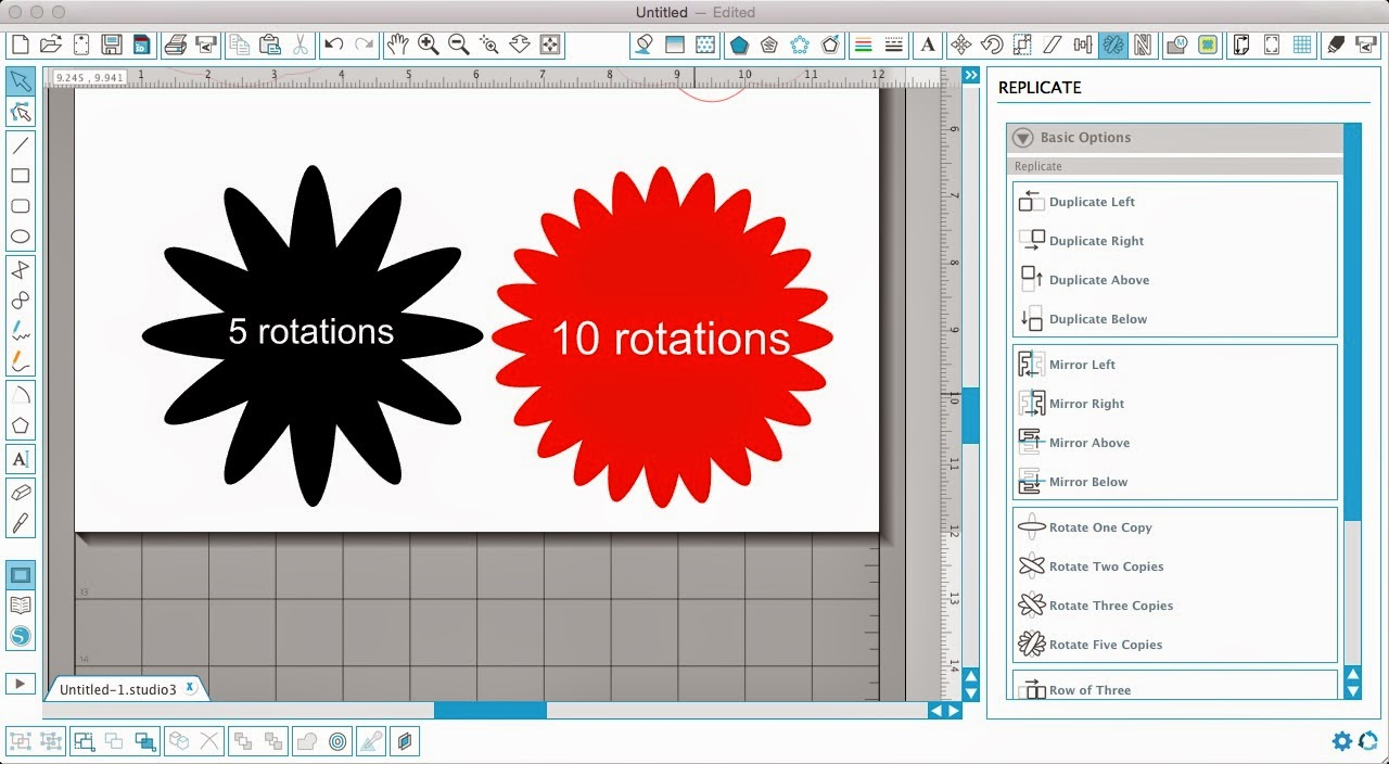 Silhouette Studio, Silhouette tutorial, designing, scalloped circle, flower, rotating ovals