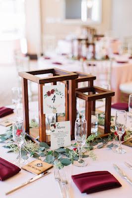 wooden centerpieces in reception