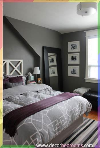 غرف نوم باللون الموف والرمادي