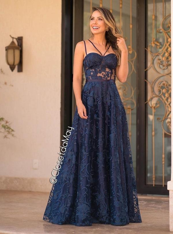 vestido longo azul marinho rendado para madrinha de casamento