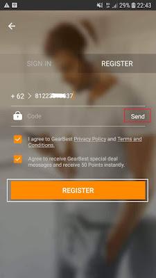cara daftar di aplikasi GearBest Android