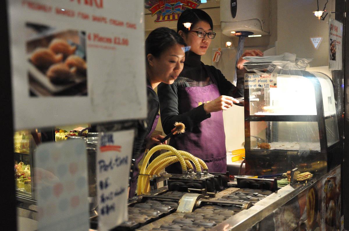 Chinese fish-shaped mini waffles, Chinatown, London, England