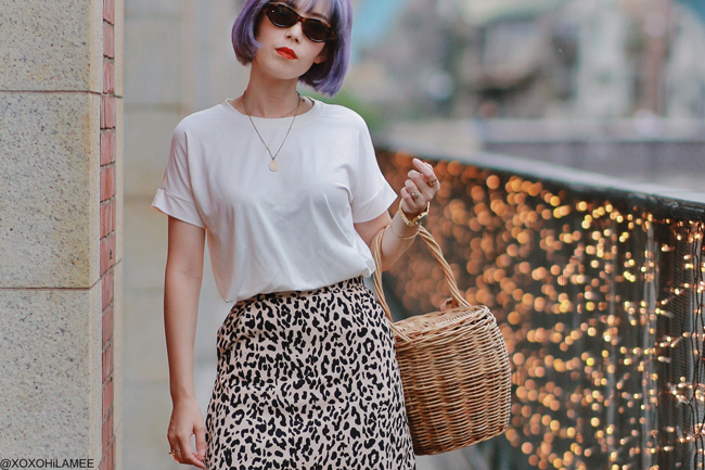 Japanese Fashion Blogger,MizuhoK,20190915OOTD, SheIn=tee, Rakuten=leopard skirt, CHOIES=laceup boots, menui=backet bag, foever21=sunglasses, and more