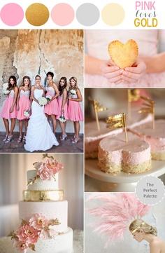 pink gold glitter wedding