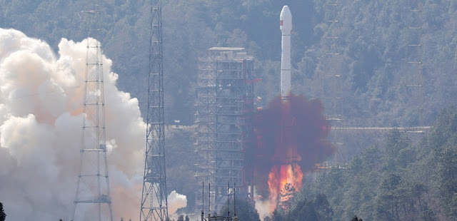 A Chinese Long March 3B rocket launches with two BeiDou-3 satellites on February 12, 2018. Photo Credit: Xinhua/Liang Keyan