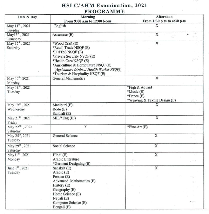 Assam HSLC Exam Routine 2021