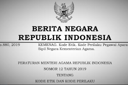 Isi Peraturan Menteri Tentang Kode Etik Dan Perilaku ASN KEMENAG Terbaru