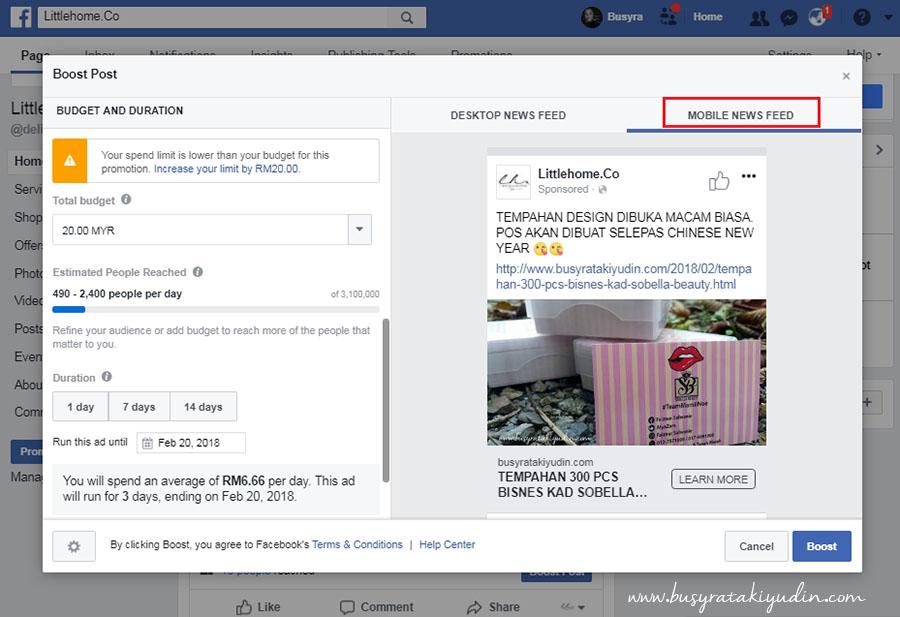 facebook ads, boost post, iklan fb, cara buat facebook ads, tutorial, info,