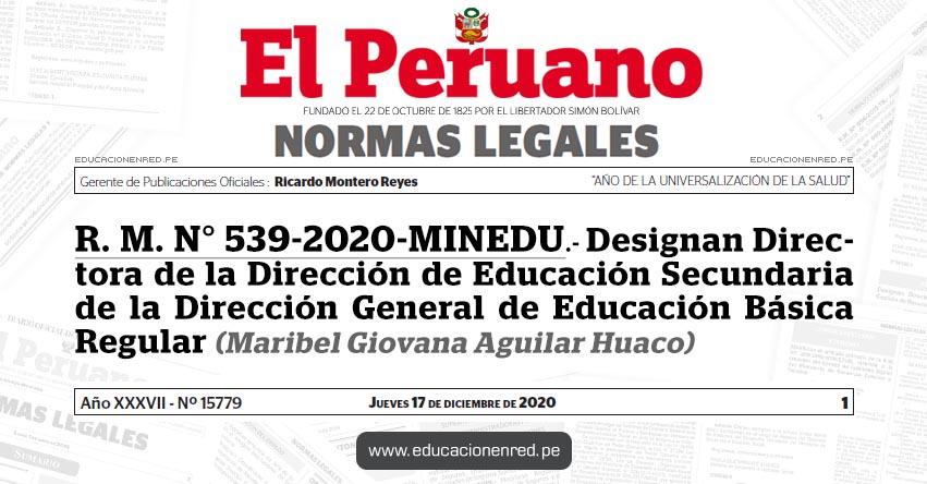 R. M. N° 539-2020-MINEDU.- Designan Directora de la Dirección de Educación Secundaria de la Dirección General de Educación Básica Regular (Maribel Giovana Aguilar Huaco)