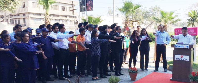 Mall officials and employees taking Safety Pledge during National safety day celebrations at Pavilion Mall