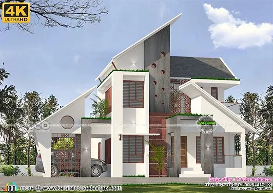Slanting roof house design