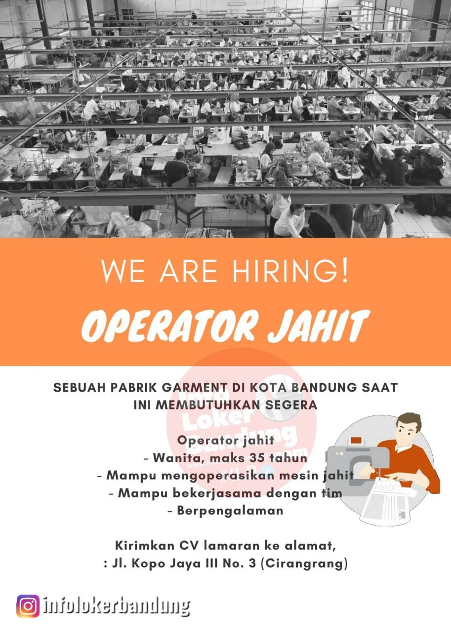 Lowongan Kerja Operator Jahit di Sebuah Pabrik Garment Bandung Mei 2021