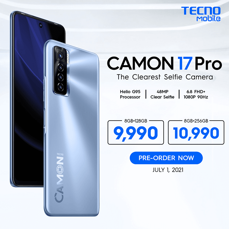 TECNO Mobile Philippines also revealed the pre TECNO CAMON 17 Pro with 90Hz screen, G95 SoC, 64MP main cam, and 48MP selfie cam will be available for pre-order in the Philippines on July 1