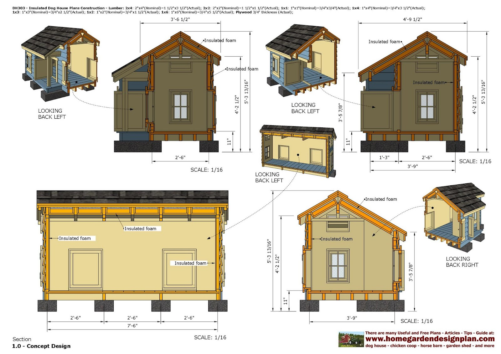 home garden plans dh303 insulated dog house plans dog house design how to build an. Black Bedroom Furniture Sets. Home Design Ideas
