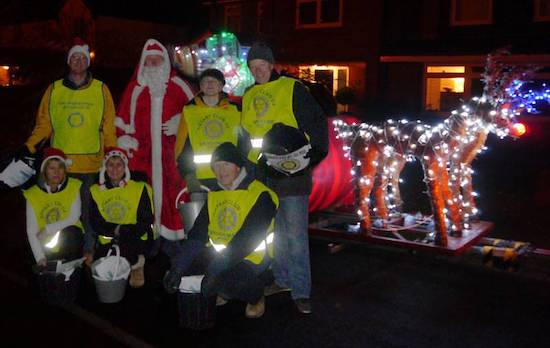 Collectors with Santa on a previous visit to Welham Green Image courtesy of Brookmans Park Rotary Club