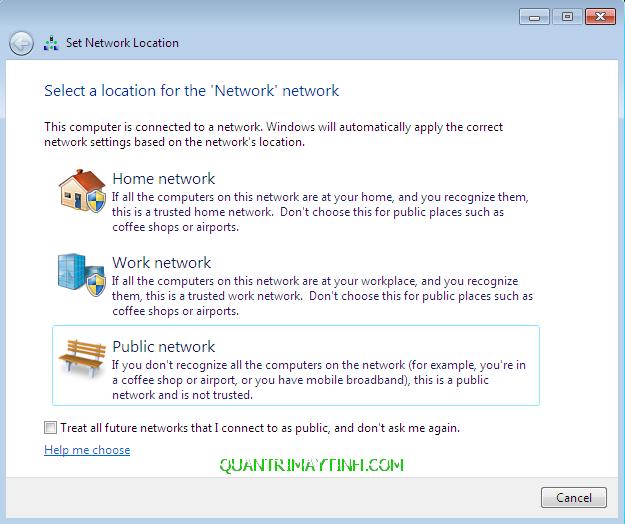 Phân biệt chế độ Public Network và Private Network