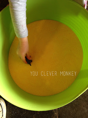 Sensory way - her way.  Using expired pantry items to encourage sensory play in a hesitant child.  Find out more at http://youclevermonkey.com/