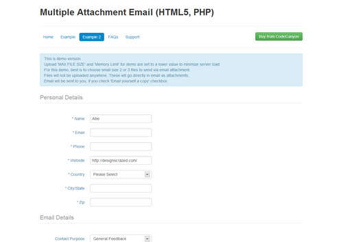 HTML5 PHP Multiple Attachments Email