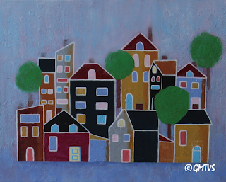 Boho Houses Painting