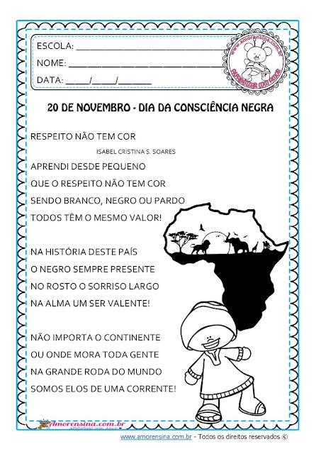 Atividades sobre a Consciência Negra, Consciência Negra 1 ano, Poema sobre a Consciência Negra, Dia da consciência negra, Consciência negra para anos iniciais, Amorensina, Alfabetizar com amor,