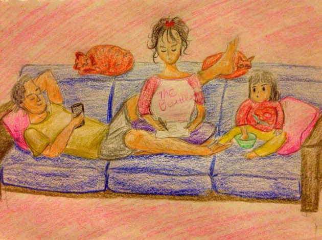 mom dad daughter family art drawing sketch doodle
