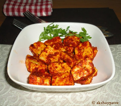 paneer tikka in a serving bowl