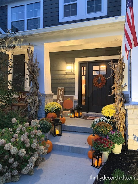 night view fall front porch