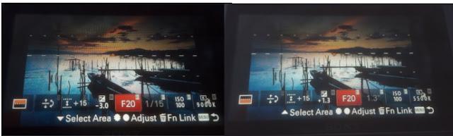 Settingan Eksposur atas dan bawah dalam Filter Digital Sony A6000